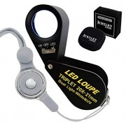 20x Loupe 21mm Optical Glass Magnifier 6 LED Light & UV Light Mini Magnification Jeweller Black Frame Achromatic Triplet Lens Jeweler Mechanics Photog