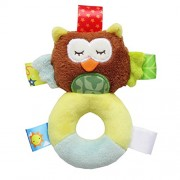 Animal Baby Soft Plush Hand Rattle Squeaker Developmental Educational Animal Rattles Baby Toys for 0-12 Months Infant (Owl)