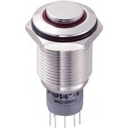 Întrerupător anti-vandalism 16 mm, iluminare 12V/inel, IP 67, 2 x ON/(ON), material oţel inoxidabil, buton în relief, conexiune prin lipire, culoare led roşu