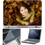 Finearts Laptop Skin - Cute Girl Looking Up With Screen Guard And Key Protector - Size 15.6 Inch