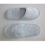 Zapatillas de baño en algodón peinado extra suave color azul pastel