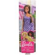 Papusa Barbie tinute stralucitoare blonda cu rochita mov