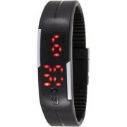 IIK Collection Square Dial black Rubber Strap Analog Led Watch - For Men Women