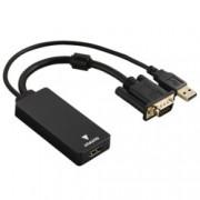 Конвертор Hama 54547, от VGA(м), USB A(м) към HDMI(ж), Full HD, позлатени конектори, екраниран
