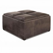 Brooklyn + Max Lincoln 17.7 in. Distressed Brown Faux Air Leather Wide Contemporary Square Table Ottoman