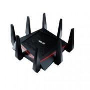 Рутер Asus RT-AC5300, 5300Mbps, 2.4GHz(1000 Mbps)/5GHz(2167 Mbps)/5GHz(2167 Mbps), Wireless AC, 4x LAN 1000, 1x WAN 1000, 1x USB 3.0, 1x USB 2.0, 8x външни антени, 512MB RAM, 128MB Flash памет