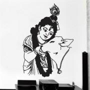 EJA Art krishna with cow Wall Sticker (Material - PVC) (Pec - 1) With Free Set of 12 pec butterflies sticker