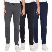 Cliths Black Dark Grey And Navy Blue Slim Fit Solid Cotton Track Joggers for Men (Pack Of 3)