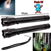 Set Of 2 Battery Powered 7W Portable Waterproof Ultra Bright LED Flashlight Torch Outdoor Lamp Emergency Light