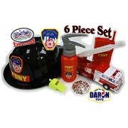 Daron Fdny (Fire Department City Of New York) Firefighters Set With Adjustable Helmet, Whistle, Badge, Play Fire Extinguisher, Play Walkie Talkie & Pullback Fire Truck Deluxe Gift Set 6 Piece Set