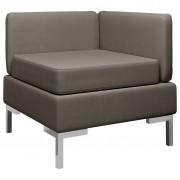 vidaXL Модулен ъглов диван с възглавница, текстил, таупе