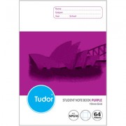 TUDOR NPG16 NSW RULING GRID BOOK 64 PAGE 10MM RULED 250 X 175MM PURPLE PACK OF 20