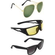Zyaden Aviator, Wrap-around, Wayfarer Sunglasses(Green, Yellow, Black)