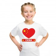 Shoppartners Chinese vlag in hartje shirt wit kind