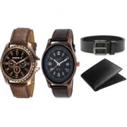 DCH WBIN-11.12 Pack Of 2 Designed Analogue Wrist Watch With Wallet And Belt For Boys And Men