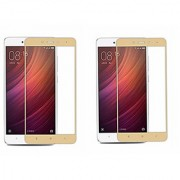 Coloured Tempered Glass for Redmi Note 4 Pack Of Two Screen Protector (Gold)