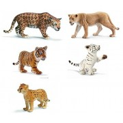 Schleich Mixed Feline Wildlife: Wild Cat and Cub Set of 5 Bagged Together: 14359 Jaguar, 14712 Lioness, 14385 White Tiger Cub Playing, 14327 Cheetah Cub, and 14730 Orange Tiger Cub