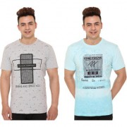 Raves Printed Men's Round Neck Multicolor T-Shirt (Pack Of 2)