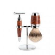 Set de barbierit cu aparat de ras clasic si pamatuf Silvertip Badger cu par de bursuc si maner din lemn de thuia S 091 H