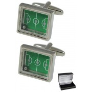 COLLAR AND CUFFS LONDON - Premium Cufflinks with Gift Box - Soccer Pitch with Moving Ball - Brass - Rectangle Sports Fans Match Football Game - Silver and Green Color