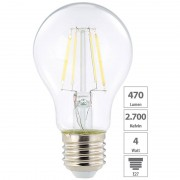 Luminea LED-Filament-Birne, A+, E27, 4 Watt, 470 Lumen, 360°, warmweiss, A60