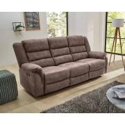 Lifestyle4Living 3er Sofa in grau-braune Stoff bezogen mit Liegefunktion, Maße: B/H/T ca. 220/103/90 cm