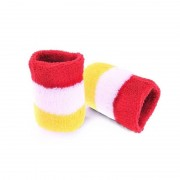 Merkloos Pols zweetbandjes carnaval rood/geel/wit 2 stuks