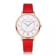 Dilwe Reloj de Las Mujeres, Reloj de Pulsera Elegante del Movimiento del Cuarzo del Estilo de Moda Simple con la Correa de Cuero Ajustable de la PU(Rojo)