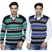 Christy's Collection Striped V-Neck Casual Green-Blue Men's Sweater
