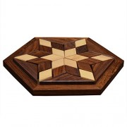 Desi Karigar Small Wooden 30-Piece Star Jigsaw/Puzzle Board- Wooden Toy Game - Brain Teaser