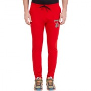Cliths Red Mid Waist Rise Printed Track Lower for Men