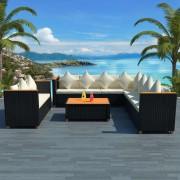 vidaXL Set mobilier de grădină 31 piese, poliratan, blat WPC, negru