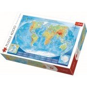 Puzzle clasic - Harta fizica a lumii 4000 piese, Trefl