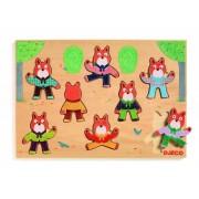 Drewniana układanka postacie liska, puzzle FOXYMATCH DJECO DJ01253