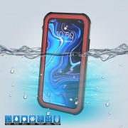 10m IP68 Waterproof Shock/Dirt/Snow Shell for iPhone XR 6.1 inch with a Kickstand - Black / Red
