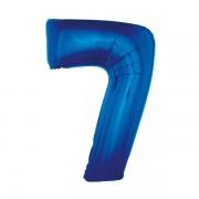 7. szám, fólia lufi, 92 cm, kék