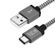 TUDIA USB tipo C cable, Nylon Trenzado USB 3.1USB-C a USB tipo A macho Cable de datos y de carga 1m/1m para Apple MacBook 30,5cm, Nokia N1, Nexus 5X 6P, Lumia 950/950X L, OnePlus 2y Más, Color negro