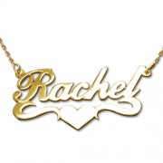 Personalized Men's Jewelry 14K Gold Heart Name Necklace 101-01-056-01