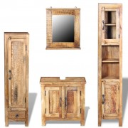 vidaXL Vanity Cabinet with Mirror and 2 Side Cabinets Solid Mango Wood