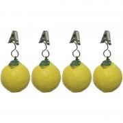 Decoris 4x Tafelkleedgewichtjes citroenen fruit 5 cm