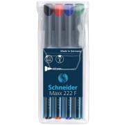Universal permanent marker SCHNEIDER Maxx 222 F, varf 0.7mm, 4 culori/set - (N, R, A, V)
