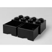 CUTIE DEPOZITARE LEGO 2X4 CU SERTARE, NEGRU - LEGO (40061733)
