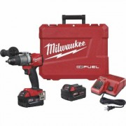Milwaukee M18 FUEL Lithium-Ion Cordless Drill/Driver Kit - With 2 Batteries, 1/2Inch Keyless Chuck, 2000 RPM, Model 2803-22