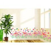 Vinyl Flowers Beautiful Daisy Border Design For Living Room Waistline Skirting Wall Sticker