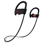QC10 Bluetooth Headset Stereo Sound Sweat Proof Earphones with Mic and Ear Hook (BLACK)