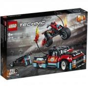 Конструктор Лего Техник - Камион и мотоциклет за каскади, LEGO Technic, 42106