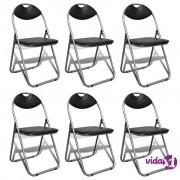 vidaXL Sklopive blagovaonske stolice od umjetne kože i čelika 6 kom crne