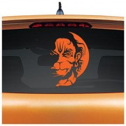 STAR SHINE Angry / Rudra Hanuman Non-Reflective Vinyl Decal Sticker for Car Rear Glass- Orange (Set of 1) For All Cars/ Hero MotoCorp HF Deluxe Eco-Set of 1