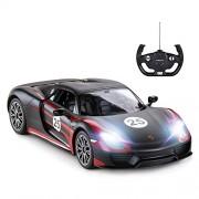Rastar Porsche Rc Car, 1:14 918 Spyder Car | Toy for Kids - Black /27Mhz