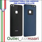 Copribatteria Back Cover Huawei P10 Lite NERO Scocca Vetro WAS-L03T